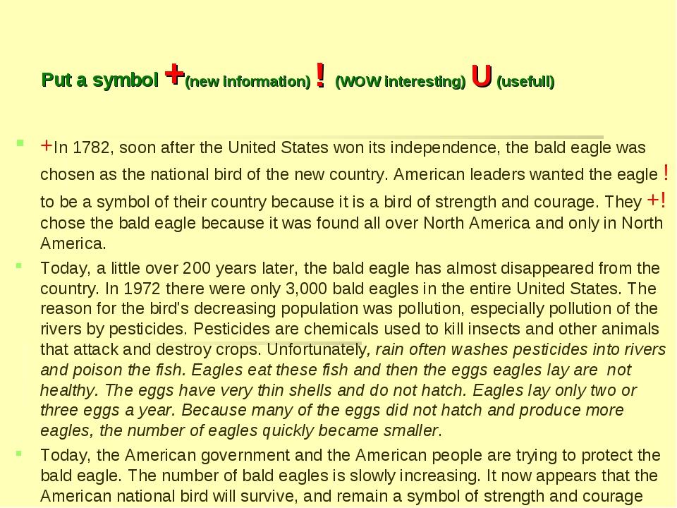 Put a symbol +(new information) ! (WOW interesting) U (usefull) +In 1782, soo...