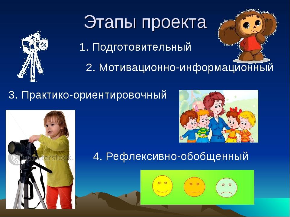 Этапы проекта 1. Подготовительный 2. Мотивационно-информационный 3. Практико-...