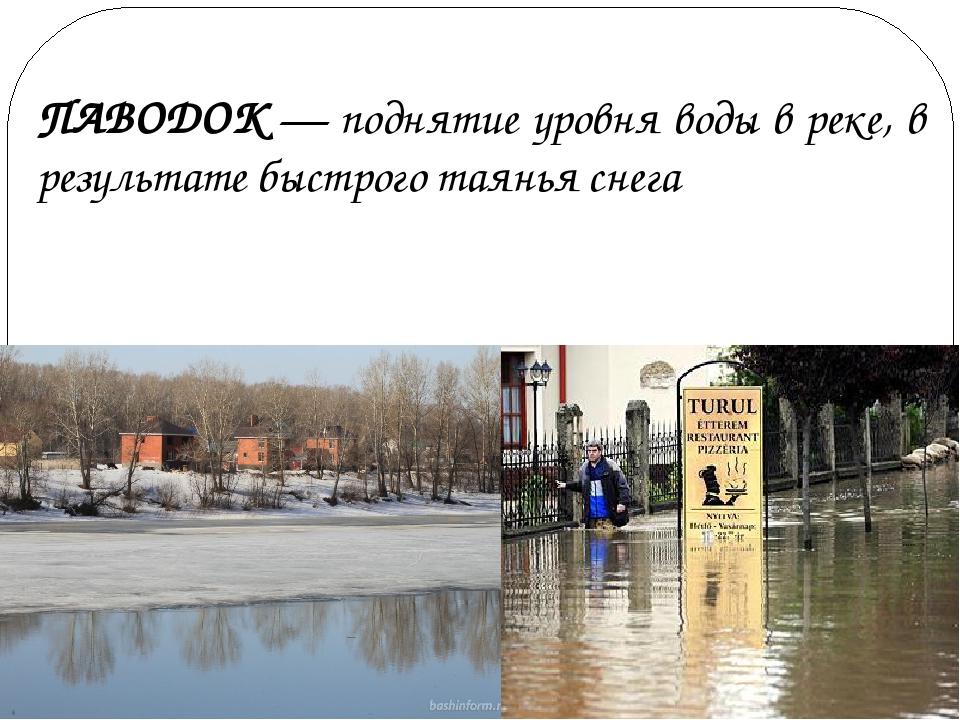 ПАВОДОК — поднятие уровня воды в реке, в результате быстрого таянья снега