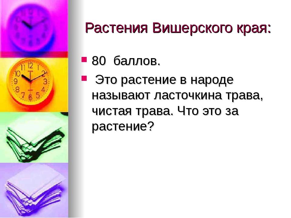 Растения Вишерского края: 80 баллов. Это растение в народе называют ласточки...
