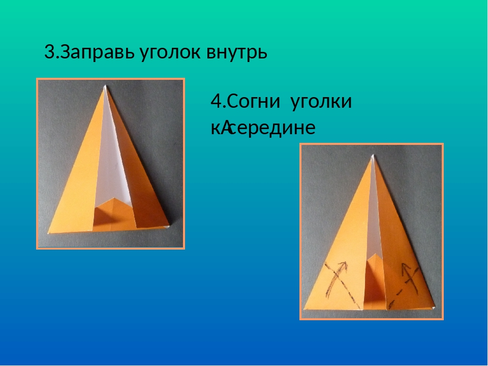 3.Заправь уголок внутрь 4.Согни уголки ксередине