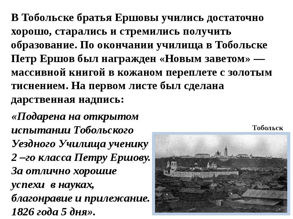 В Тобольске братья Ершовы учились достаточно хорошо, старались и стремились п...