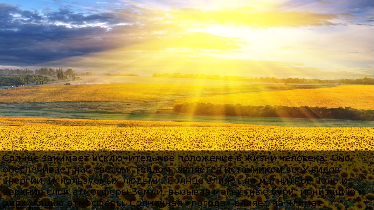 Солнце занимает исключительное положение в жизни человека. Оно обеспечивает н...