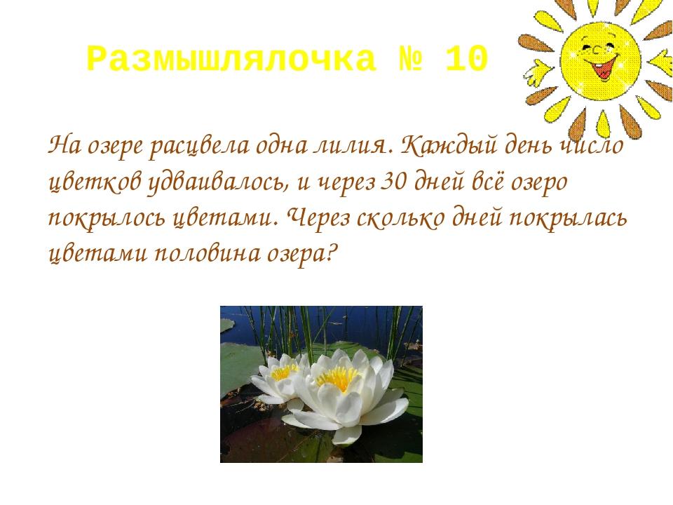 Размышлялочка № 10 На озере расцвела одна лилия. Каждый день число цветков уд...