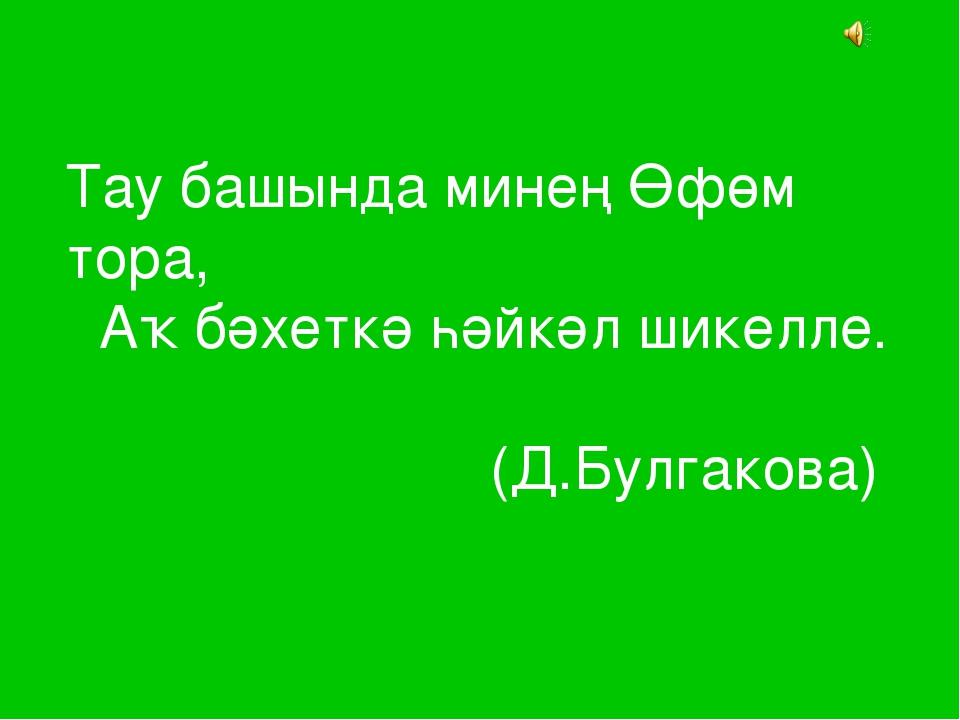 Тау башында минең Өфөм тора, Аҡ бәхеткә һәйкәл шикелле. (Д.Булгакова)