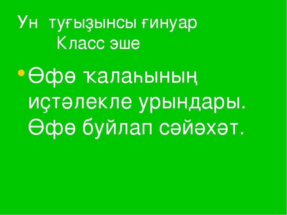 Ун туғыҙынсы ғинуар Класс эше Өфө ҡалаһының иҫтәлекле урындары. Өфө буйлап сә...