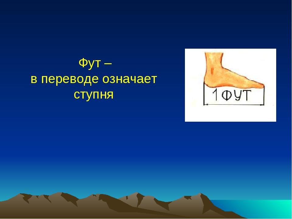 Фут – в переводе означает ступня