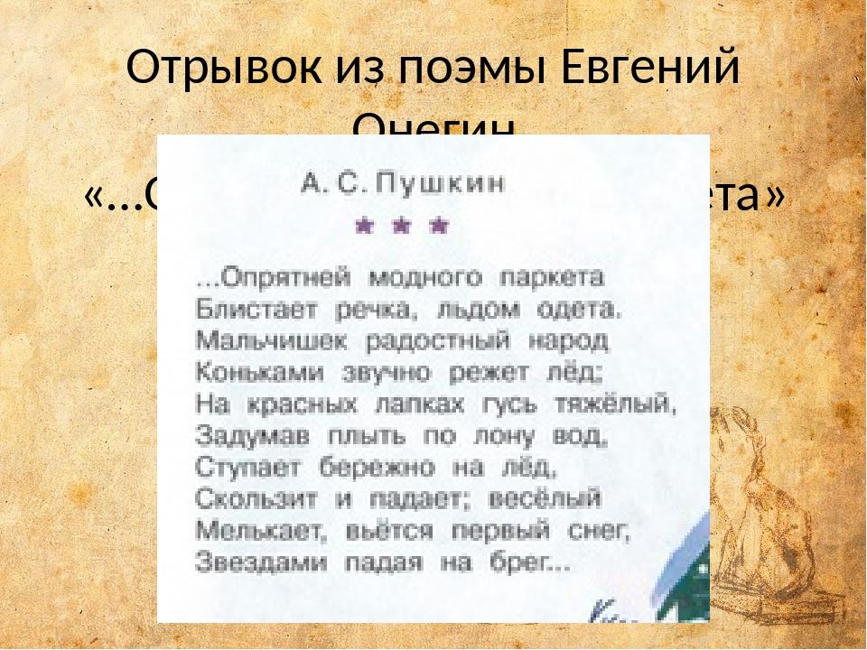 Отрывок из поэмы Евгений Онегин «…Опрятней модного паркета»