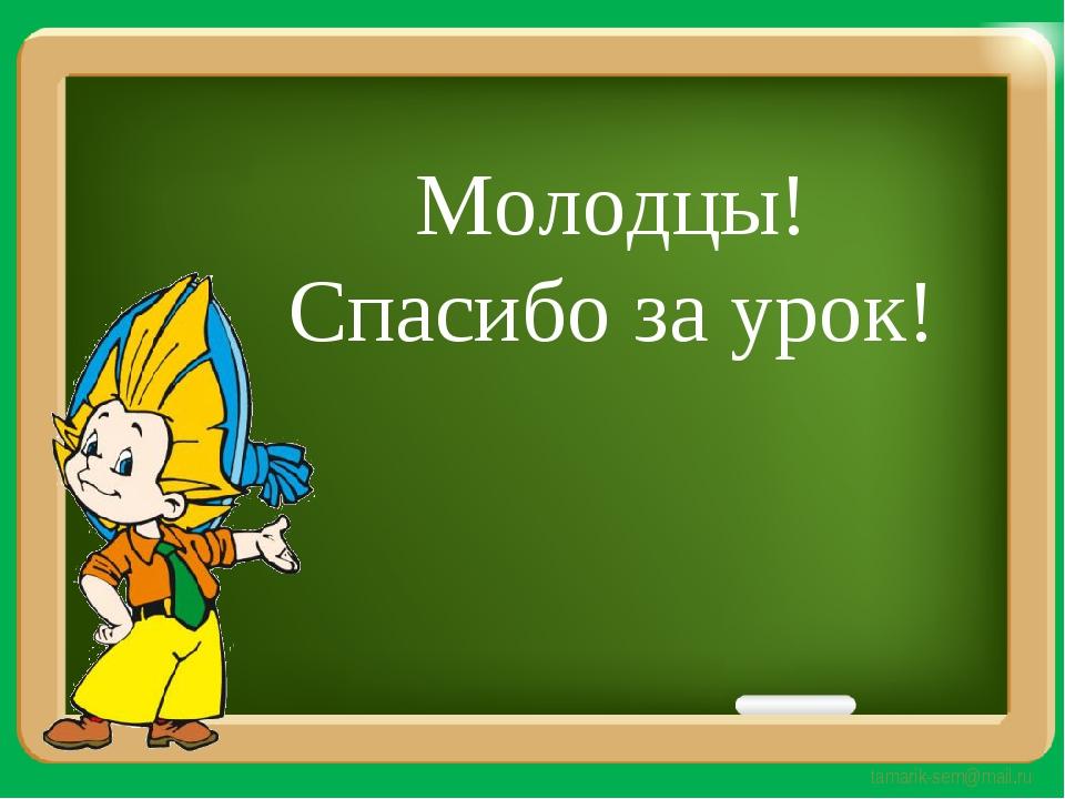 Молодцы! Спасибо за урок! tamarik-sem@mail.ru