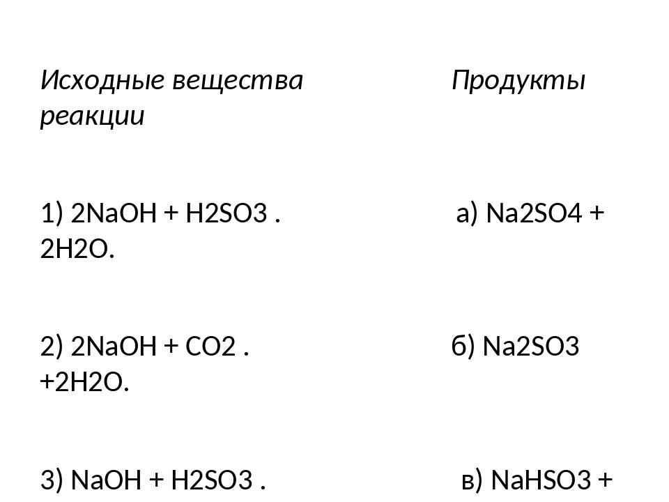 Исходные вещества Продукты реакции 1) 2NaOH + H2SO3 . а) Na2SO4 + 2H2O. 2) 2...
