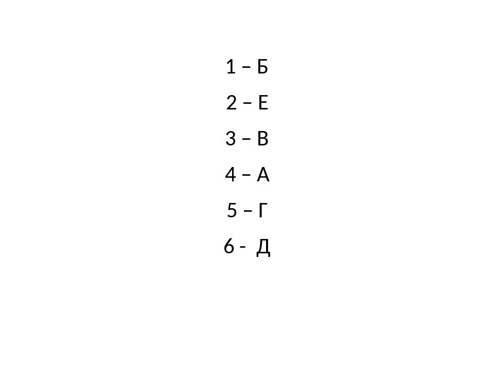 1 – Б 2 – Е 3 – В 4 – А 5 – Г 6 - Д