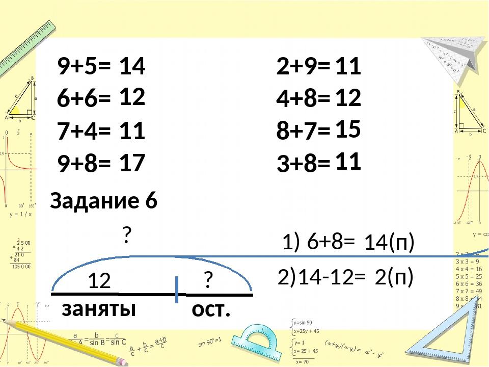 9+5= 6+6= 7+4= 9+8= 2+9= 4+8= 8+7= 3+8= 14 12 11 17 11 11 12 15 11 Задание 6...
