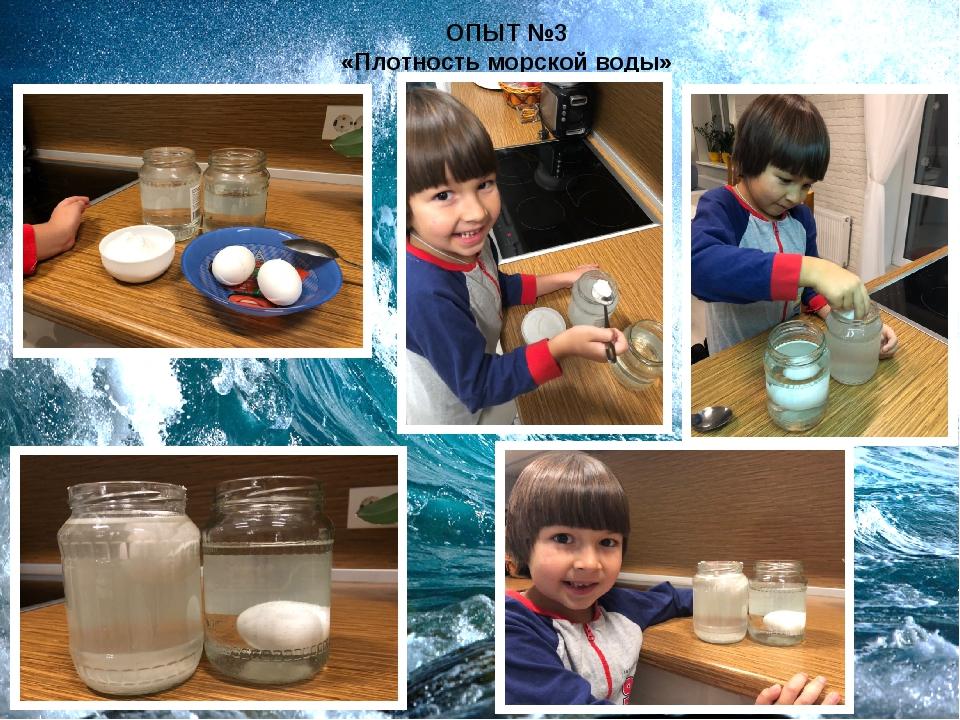 ОПЫТ №3 «Плотность морской воды»