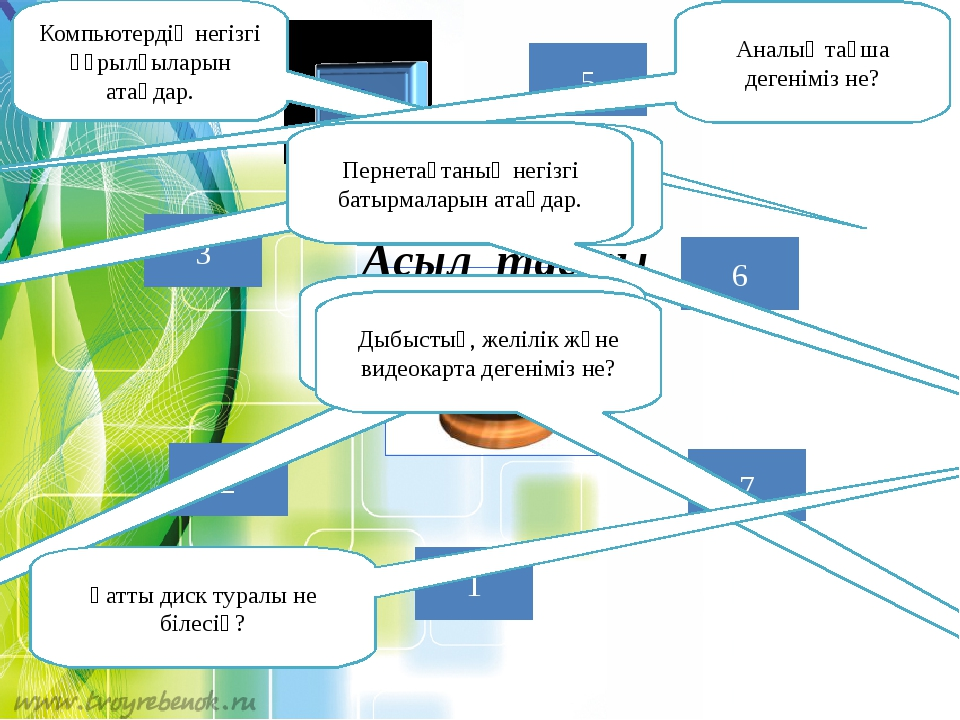 1 2 7 5 3 6 Асыл тасты сұрақтар Компьютердің негізгі құрылғыларын атаңдар. Ан...