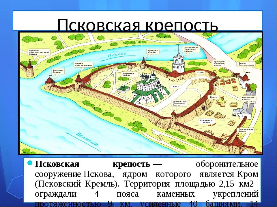 Псковская крепость Псковская крепость— оборонительное сооружениеПскова, ядр...