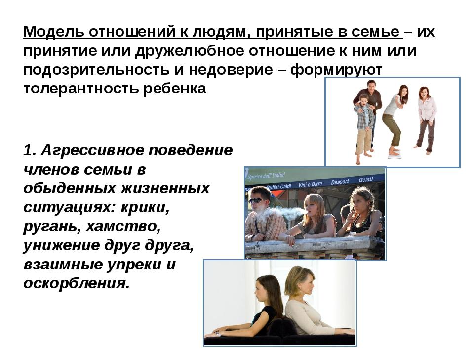 Модель отношений к людям, принятые в семье – их принятие или дружелюбное отно...