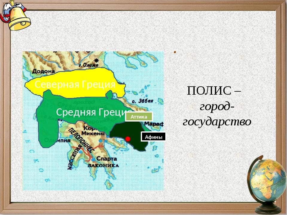 Возникновение полисов в Греции. ПОЛИС – город-государство Северная Греция Сре...