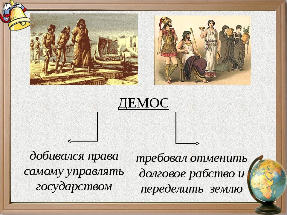 ДЕМОС добивался права самому управлять государством требовал отменить долгово...
