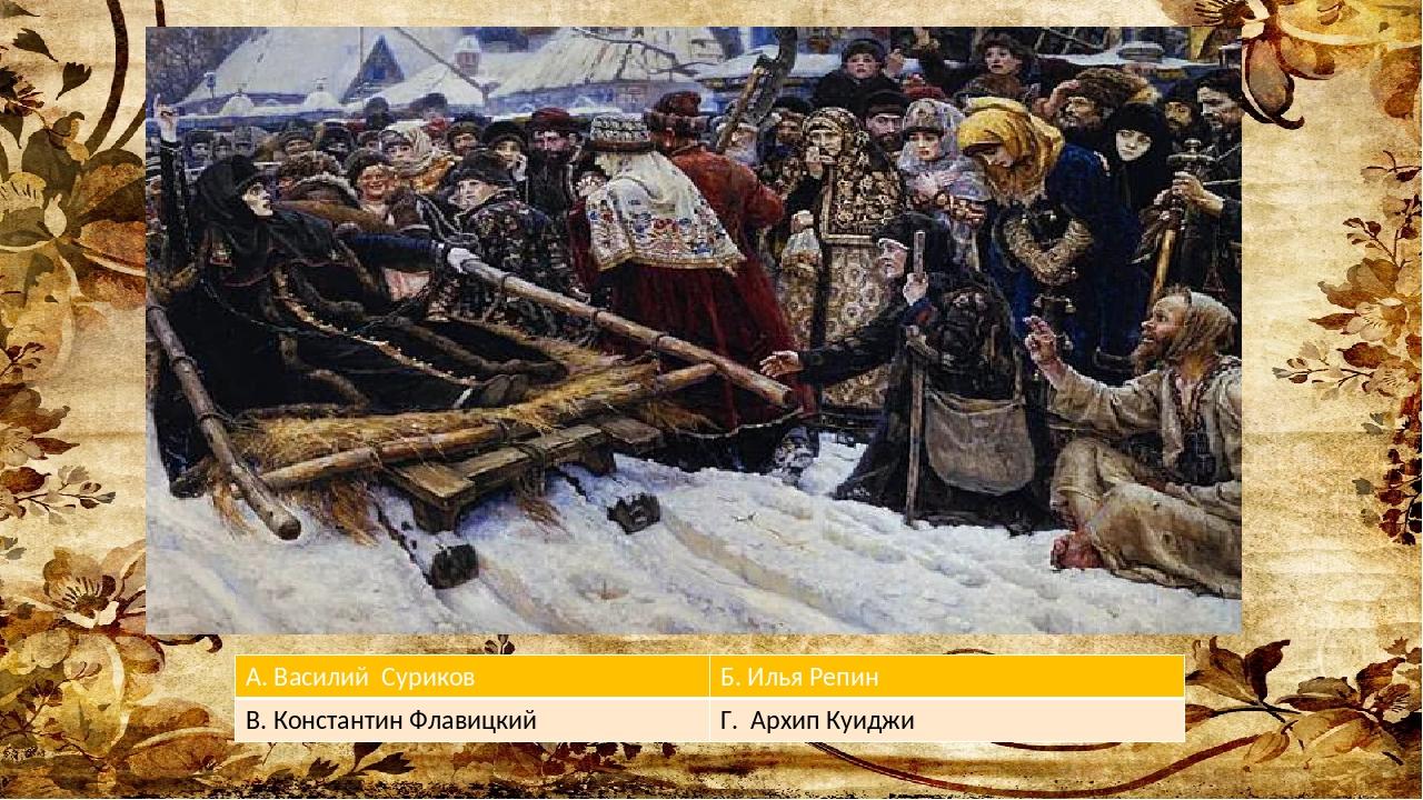 А. Василий Суриков Б.Илья Репин В. КонстантинФлавицкий Г. АрхипКуиджи
