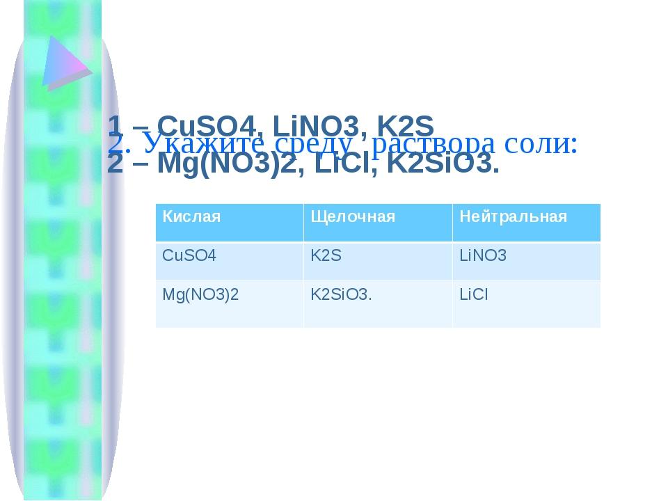 2. Укажите среду раствора соли: 1 – CuSO4, LiNO3, K2S 2 – Mg(NO3)2, LiCl, K2...