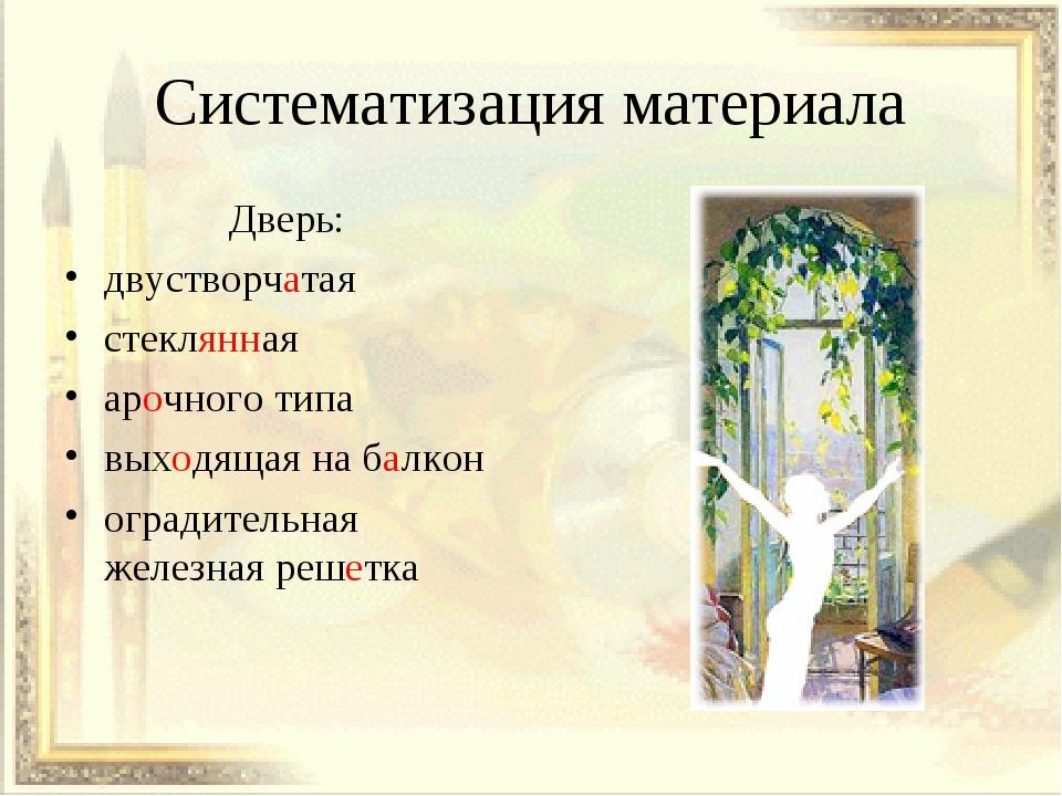 Систематизация материала Дверь: двустворчатая стеклянная арочного типа выходя...