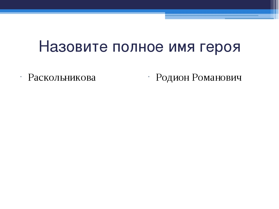 Назовите полное имя героя Раскольникова Родион Романович
