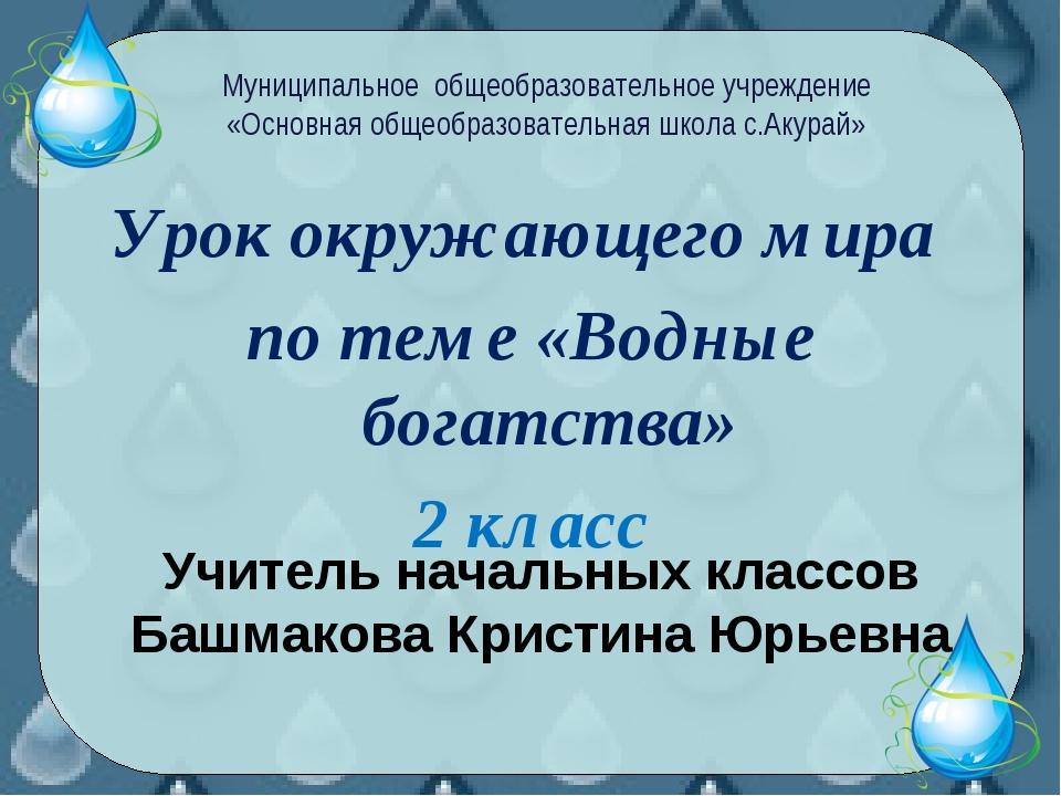 Урок окружающего мира по теме «Водные богатства» 2 класс Муниципальное общеоб...