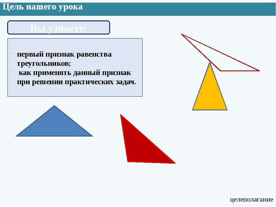 Цель нашего урока целеполагание Вы узнаете: первый признак равенства треуголь...