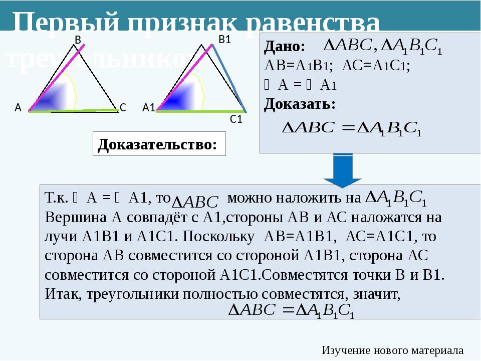 Доказательство: Т.к. ∠А = ∠А1, то можно наложить на Вершина А совпадёт с А1,с...