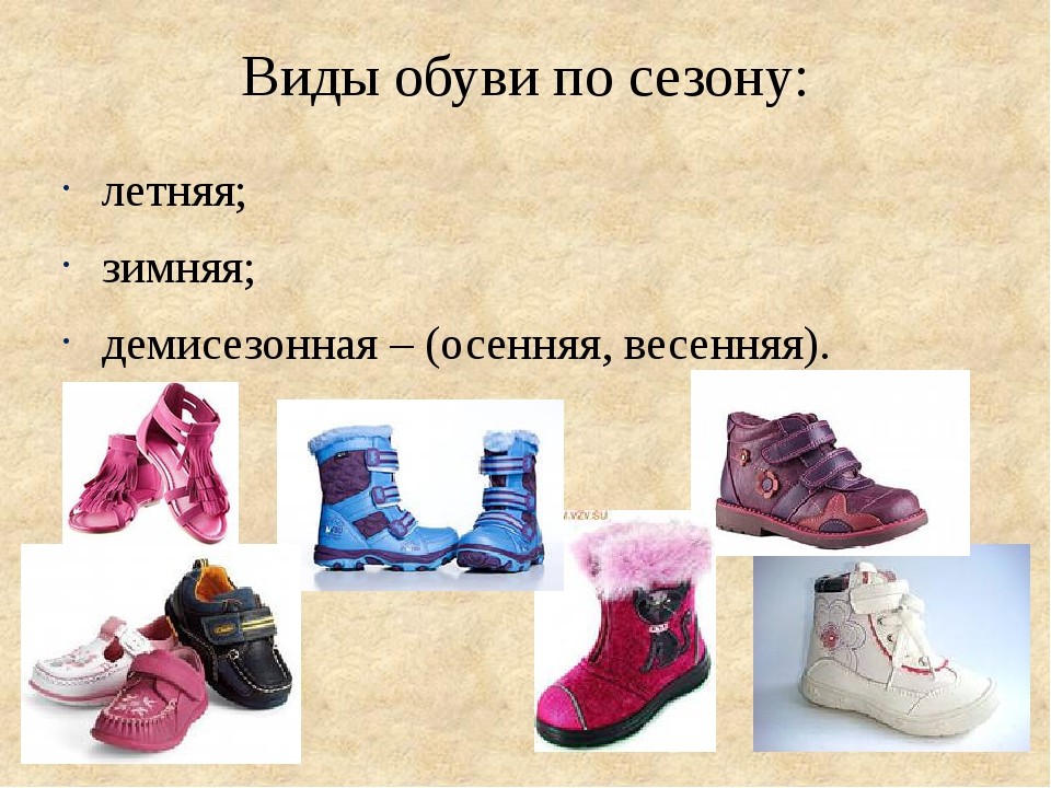 Виды обуви по сезону: летняя; зимняя; демисезонная – (осенняя, весенняя).