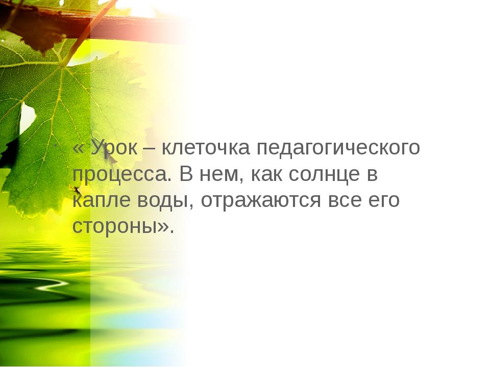 « Урок – клеточка педагогического процесса. В нем, как солнце в капле воды, о...