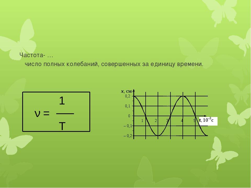 Частота- … число полных колебаний, совершенных за единицу времени. Т 1 ν =