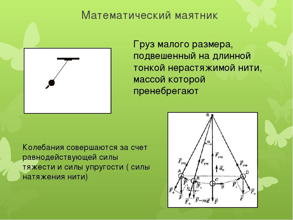 Математический маятник Груз малого размера, подвешенный на длинной тонкой нер...