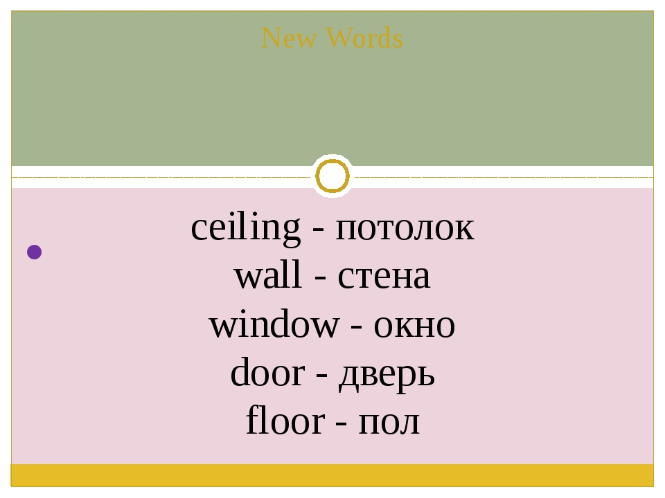 New Words ceiling - потолок wall - стена window - окно door - дверь floor -...