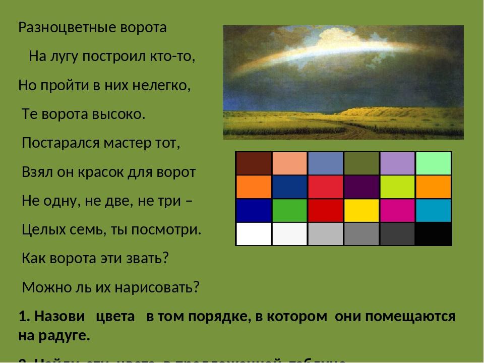 Разноцветные ворота На лугу построил кто-то, Но пройти в них нелегко, Те воро...