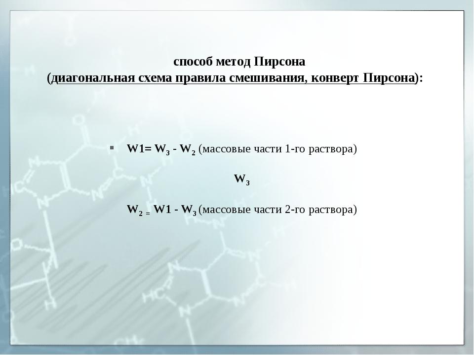 способ метод Пирсона (диагональная схема правила смешивания, конверт Пирсона...