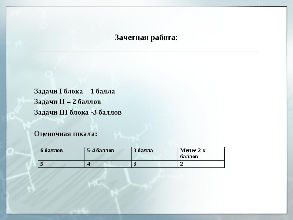 Зачетная работа: Задачи I блока – 1 балла Задачи II – 2 баллов Задачи III бло...