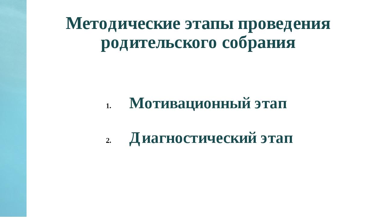 Методические этапы проведения родительского собрания Мотивационный этап Диагн...