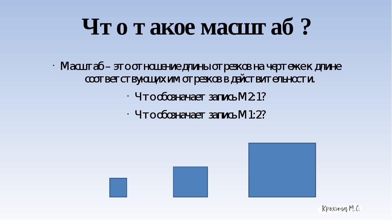 Что такое масштаб ? Масштаб – это отношение длины отрезков на чертеже к длине...