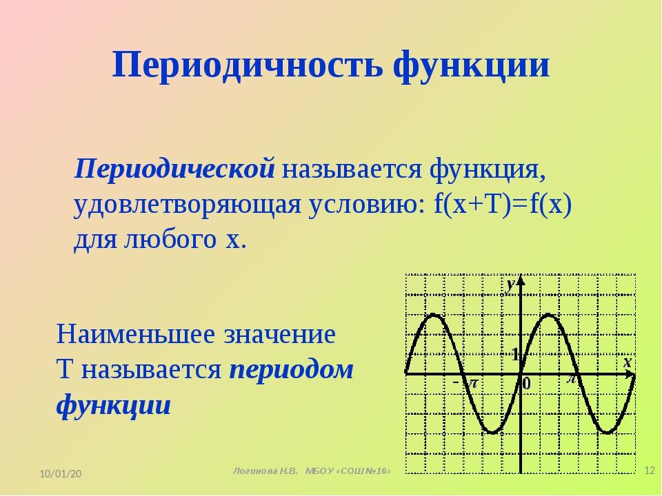 Периодичность функции Периодической называется функция, удовлетворяющая услов...