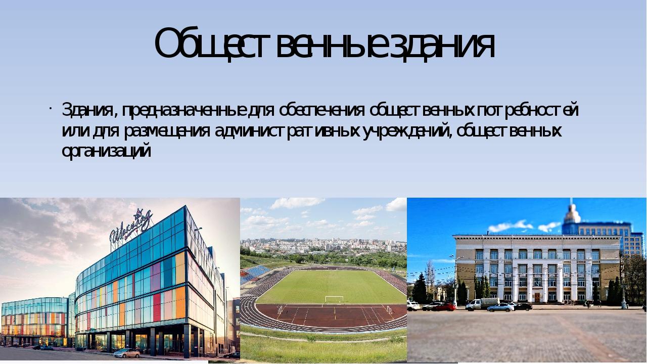 Общественные здания Здания, предназначенные для обеспечения общественных потр...