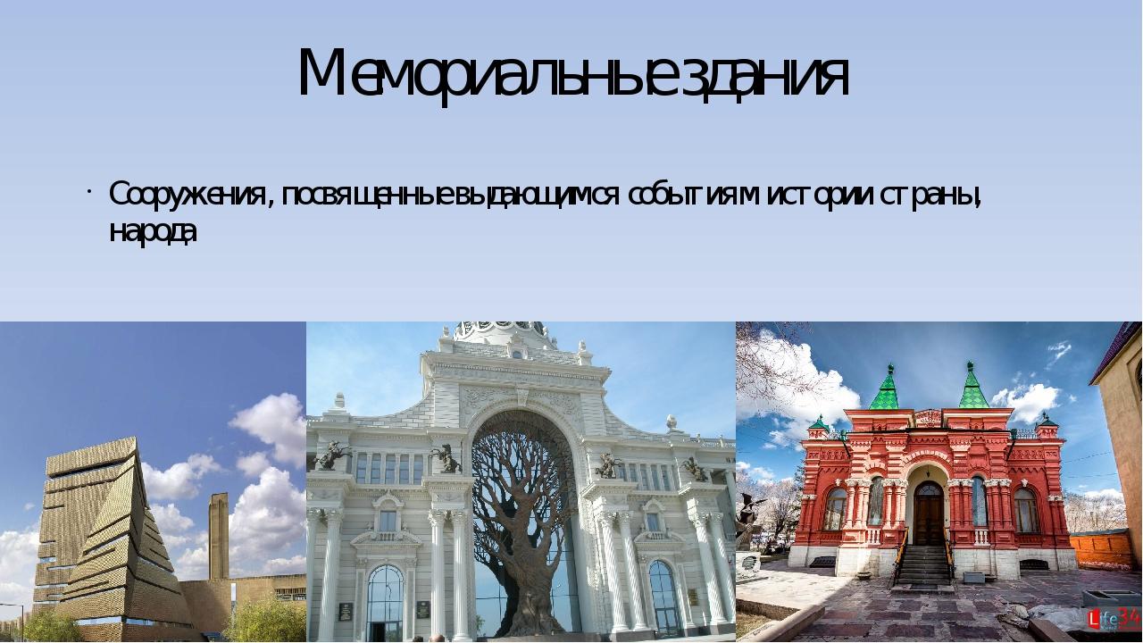 Мемориальные здания Сооружения, посвященные выдающимся событиям истории стран...