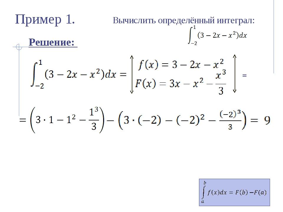 Пример 2. Вычислите определённые интегралы: 5 9 1