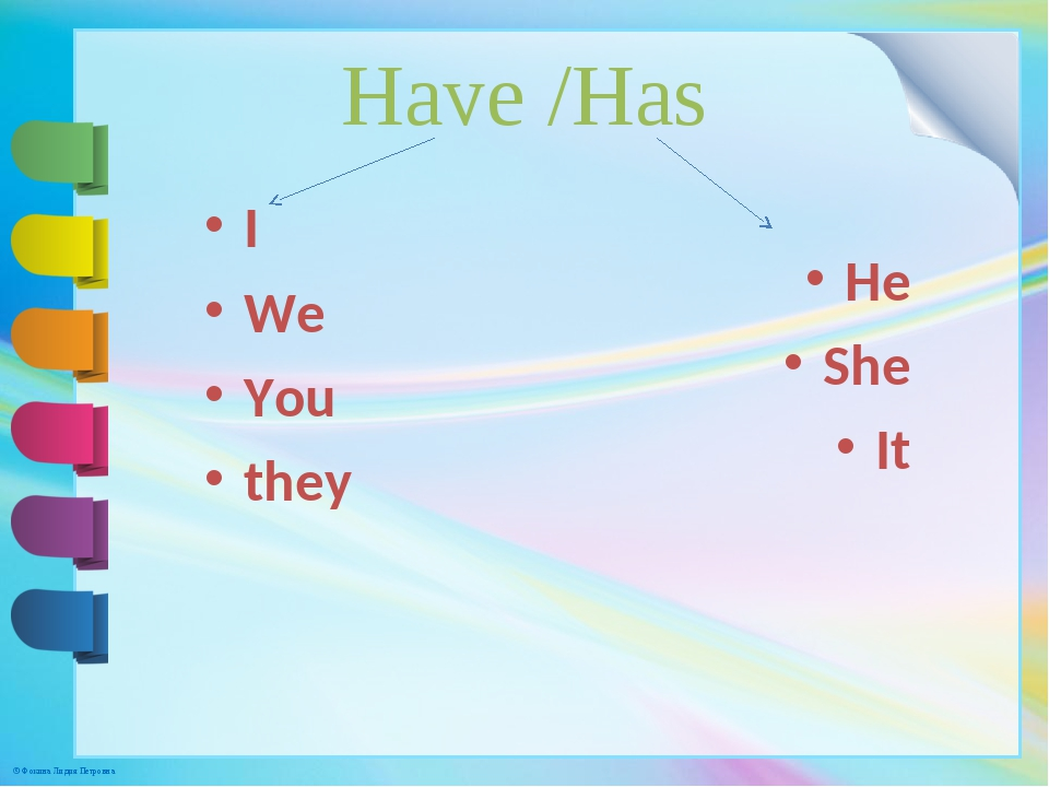 Have /Has I We You they He She It © Фокина Лидия Петровна