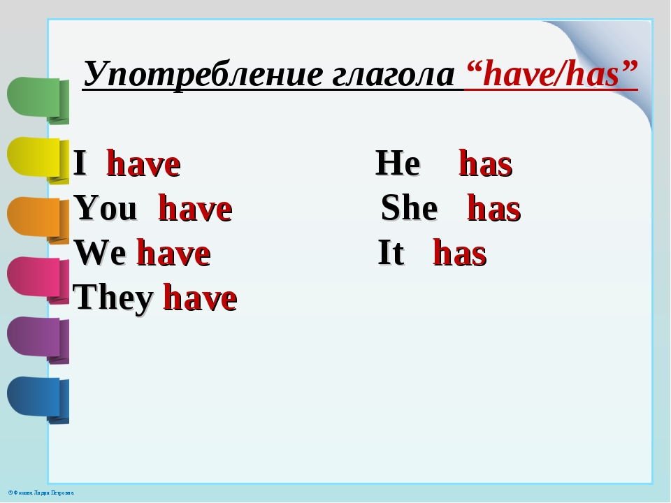 """Употребление глагола """"have/has"""" I have He has You have She has We have It has..."""