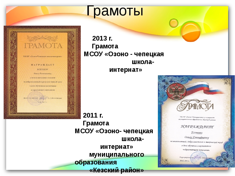 Грамоты 2013 г. Грамота МСОУ «Озоно - чепецкая школа-интернат» 2011 г. Грамот...