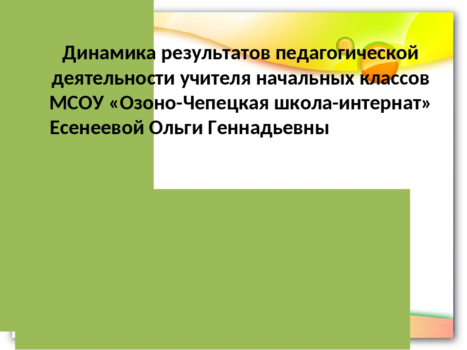 Динамика результатов педагогической деятельности учителя начальных классов М...