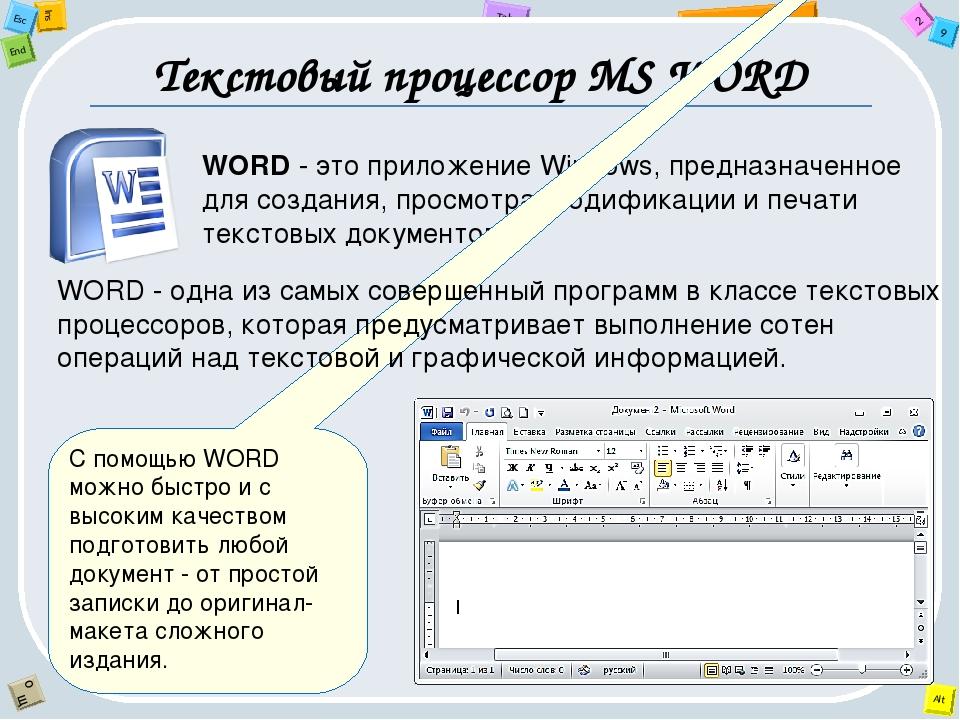Текстовый процессор MS WORD WORD - это приложение Windows, предназначенное дл...