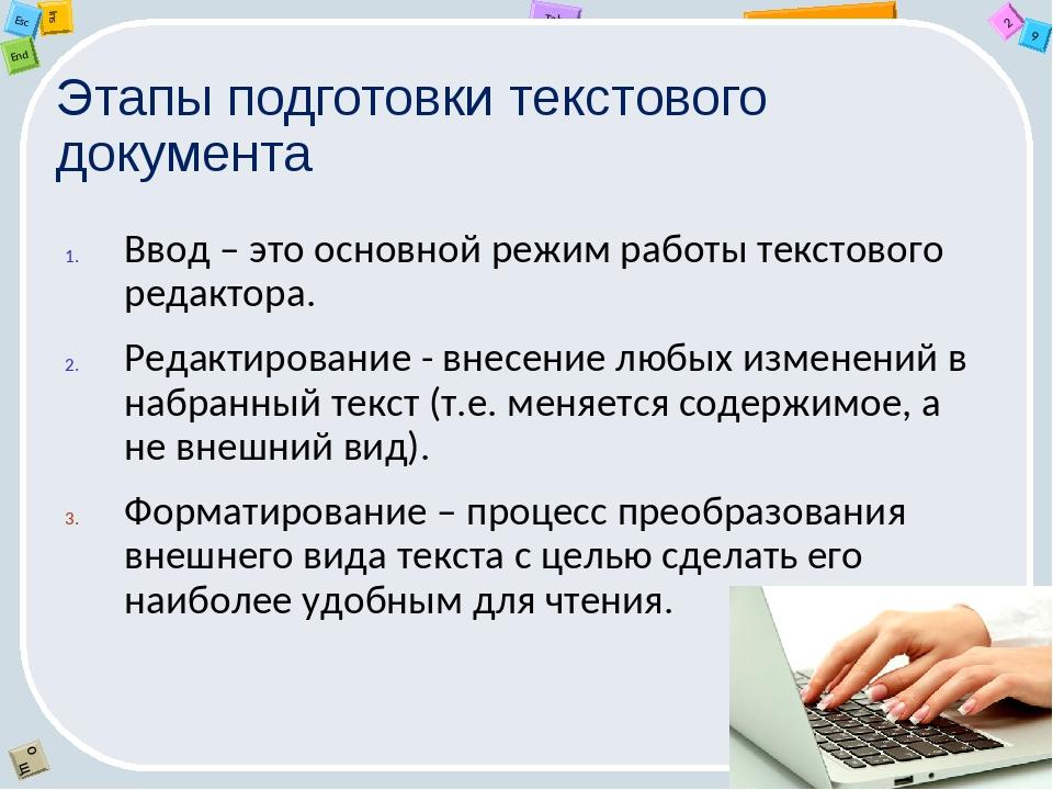Этапы подготовки текстового документа Ввод – это основной режим работы тексто...