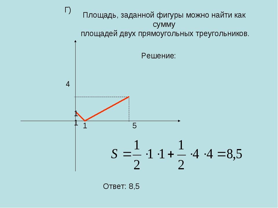 11 Площадь, заданной фигуры можно найти как сумму площадей двух прямоугольных...